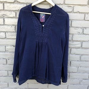 Johnny Was Navy Embroidered Tunic sz M